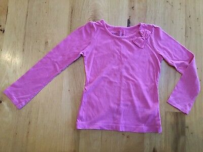 Girls Solid Pink Long Sleeve Cotton Blend Shirt With Bow Faded Glory Size 5T 5