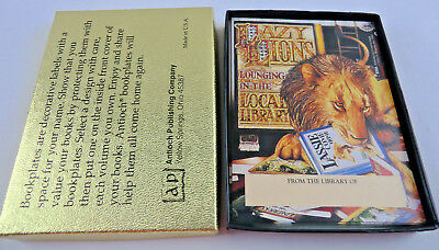 Vintage Antioch Bookplates (28) w/ Box Lazy Lions Lounging in the Local Library