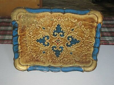 Vintage Blue and Gold Gilt Florentine Wood Tray