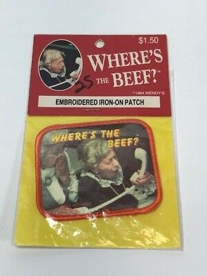 """Vintage """"Where's the Beef ?"""" Wendy's 1984 Embroidered Iron on Patch NIP Washable"""