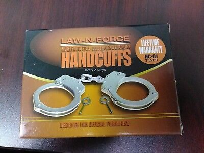 NEW in BOX LAW-N-FORCE STEEL DOUBLE LOCKING CHAINLINK HANDCUFFS - HC-01 Silver