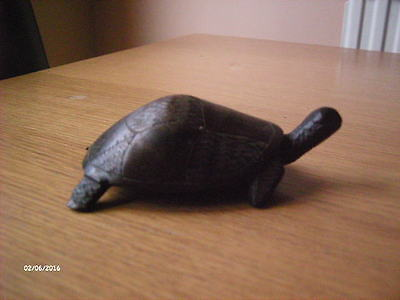 """Vintage Hand Carved Solid Wooden Turtle roughly 4 1/2"""" long."""