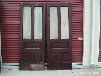 Antique Eastlake French doors  Solid wood French door set   2 DOORS  96 X 35 3/4