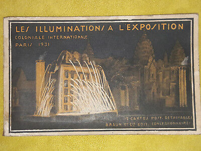 Exposition Coloniale PARIS 1931 9 CPA cartes postales ANGHOR VAT Cambodge NUIT