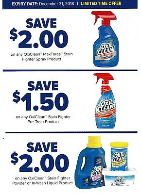 coupons OXICLEAN Stain Fighter Pre-Treat Powder Liquid Wash Spray [Canada]