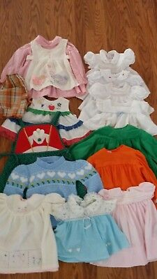 Vintage lot 14 plus items Baby Girl dresses tops ruffles smocked lace infant