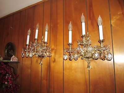 2 Lrg Wiess & Biheller Vintage 3 Light Solid Brass Sconces A-1 Wiring Exc Cond.