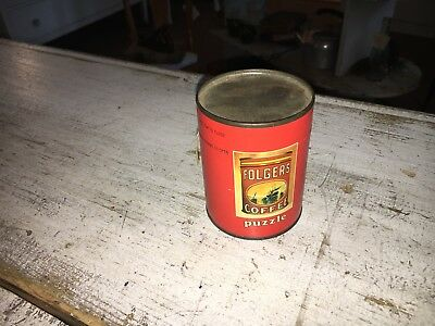 Vintage Folgers Coffee Puzzle Tin Unopened