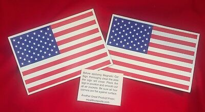 """Two Large American Flag Magnets (6"""" wide)"""