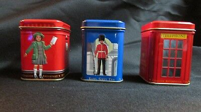 """Lot of 3 Ahmad Earl Gray Tea Tins EMPTY Canister Only 1.75x2.5""""  tall - England"""