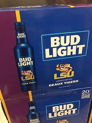 Bud Light Aluminum Beer Bottle LSU Geaux Tigers LIMITED EDITION 20 bottles