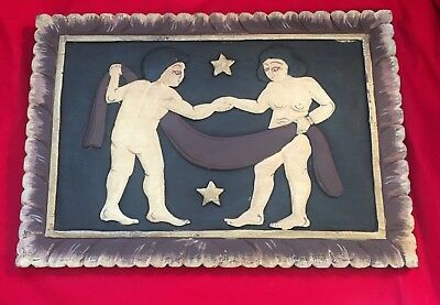 "Vintage Couple in Love Hand-carved Wood Panel with stars (14"")"