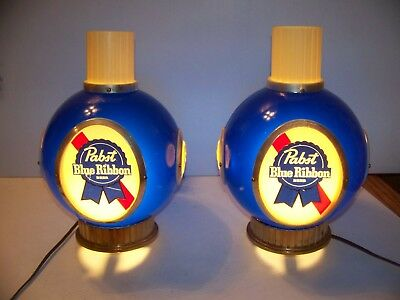 Pair of Pabst Blue Ribbon Beer Back Bar Lighted Signs