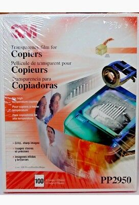 """3M Transparency Film For Copiers PP2950 100 Sheets Sealed Box 8.5"""" X 11"""" NEW!"""