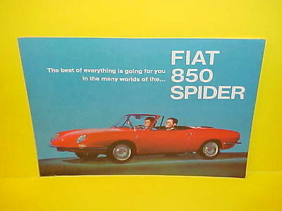 1967 Fiat 850 Spider Convertible Hardtop Dealer Showroom Sales Brochure Catalog
