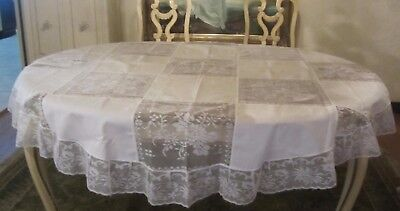 Vintage White Lace w Ruffle Army Navy Tablecloth 67 inches Round Unused