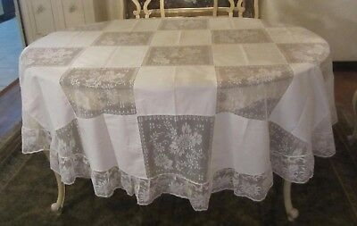 Cream Large Round Lace Army Navy Tablecloth 86 Inches Unused New