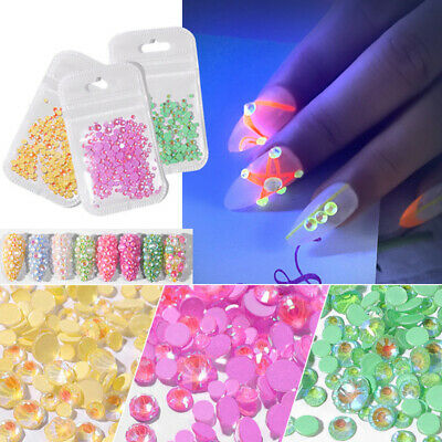 3D Nail Crystal Rhinestones Gems 1728pcs Shining Flat Bottom Colorful Nail Art