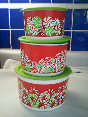TUPPERWARE CANDY CANE/CHRISTMAS CANISTERS 3 PC Set NEW 2.5, 4, 6 CUPS FREE MINI