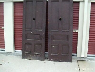 "Eastlake Victorian entry door  Original Hardware 96"" x 35 3/4"" 1880's Solid wood"