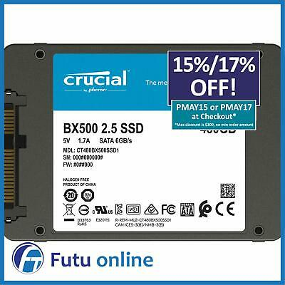 """Crucial BX500 Series 480GB 2.5"""" Internal Solid State Drive SSD 540MBs + Acronis"""