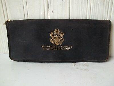 Honorable Discharge Paperwork Holder U.S. Army   Unknown Vintage