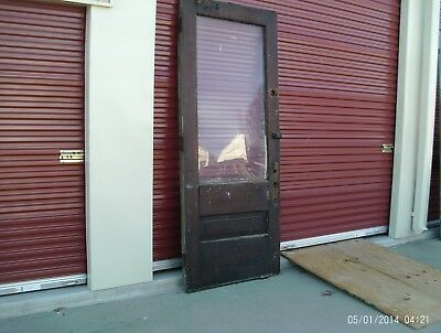 Antique Victorian Storefront solid Wood Entry Door 1/2 lite - 8 feet tall -