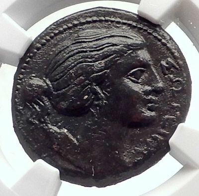 SYRACUSE Sicily Ancient 295BC Agathokles Greek Coin ARTEMIS  & BOLT NGC i72069