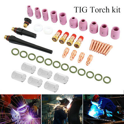 49PCS/Kit TIG Welding Torch Stubby Gas Lens #10 Pyrex Glass Cup For WP-17/18/26
