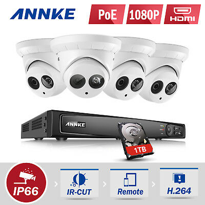 Refurbished ANNKE 1080P 4x Dome Cameras 8CH 6MP NVR POE Security System 4TB HDMI