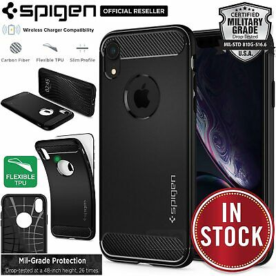 iPhone XR Case, Genuine SPIGEN Rugged Armor Resilient Soft Cover for Apple