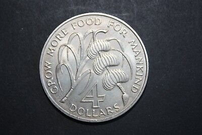 1970 Barbados 4 Dollars FAO 30,000 minted KM-A9 Uncirculated