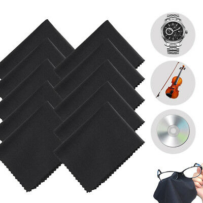 10x Black Microfiber Cleaner Cleaning Soft Cloth For Camera Lens Glasses Screen