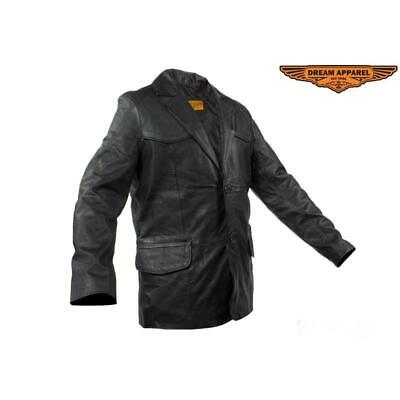Mens Soft Naked Cowhide Leather Blazer
