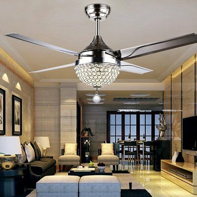 """44"""" Invisible Crystal Ceiling Fan Light Lamp LED Chandeliers Home Decor 4 blades"""