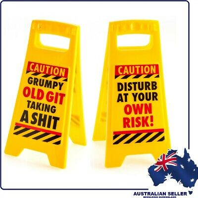 "Novelty ""MINI WARNING SIGN - GRUMPY OLD GIT TAKING A SHIT"" Brand New"