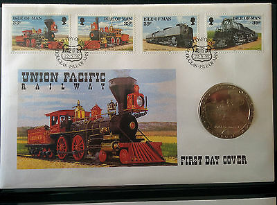 Fdc Union Pacific Railway Isle Of Man 1992 + 1992 Isle Of Man 1 Crown Coin