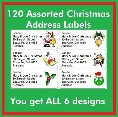 120 Printed Personalised Return Address Labels Mail Stickers Christmas