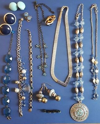 VGC Job Lot Of 13 Assorted Blue Tone Jewellery NON Broken Ideal For Resale