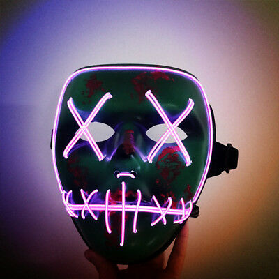 Halloween Mask LED Glowing Lights EL Wire Horror Party Costume Cosplay Purge