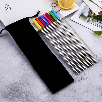 8pcs Stainless Steel Straws Reusable Metal With Silicone Tips Clean Brush Set