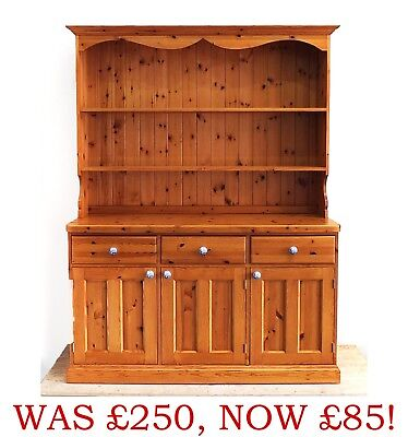 Country Farmhouse Pine Dresser with Spode Blue & White Handles (213)