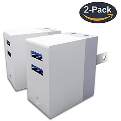 USB Wall Charger, 2 PACKS Potable 12W Dual Ports Plug Travel Power Adapter By