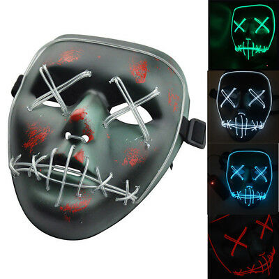 Halloween EL Led Mask Wire The Purge Movie Cosplay Light Up Mask Neon Rave Party