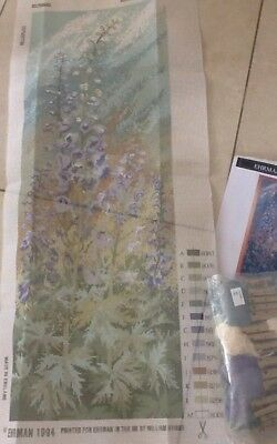 Ehrman Ann Blockley 1994 Delphiniums Large Panel Needlepoint Tapestry Kit