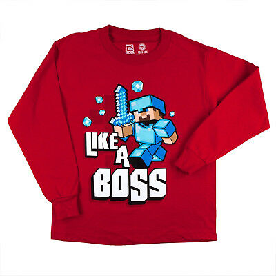 NWT Minecraft LIKE A BOSS Long Sleeve Red Shirt Size Youth Big Boy Sz Small NEW