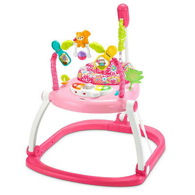 Fisher Price Jumperoo Floral Confetti Space Saver Bouncing Infant Walker, Pink