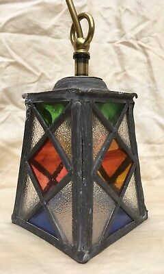 Old Arts & Craft Coloured Lead Light Porch Lampshade - Light