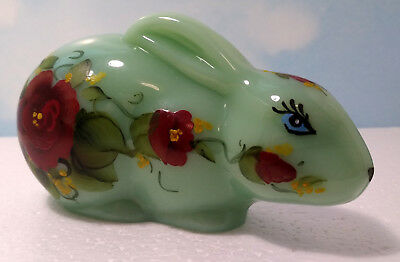 Mosser Glass Jade Light Green Bunny Rabbit W/  Red Flowers ~ Laying ~ New