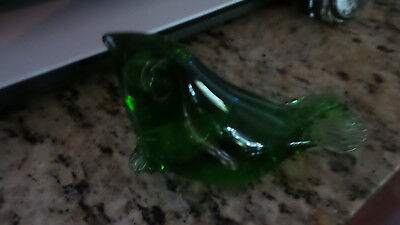 Green Glass Figurine Paperweight Seal Sea Lion